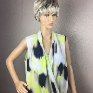 Alfani crossover asymmetrical yellow black top